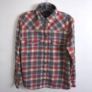 JACHS Girlfriend Plaid Snap Buttons Shirt Size S